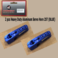 NZHOBBIES Aluminum Servo Horn 25T (Blue) Axial, Futaba & Savox Servos (2pcs)