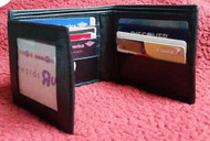 New Mens Trifold Genuine Leather Wallet Case Credit Card Window ID License Black