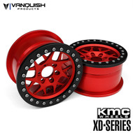 "Vanquish Product VPS08034 KMC 2.2 XD127 BULLY (1.2"" WIDE) RED/BLACK ANODIZED"