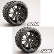Sweep RC Monster Truck Terrain Crusher Belted Tire Preglued on Black Wheel (2pc)