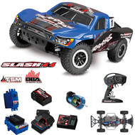 Traxxas 1/10 Slash 4x4 4WD BLUE TSM On Board Audio Brushless Short Course Truck