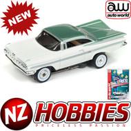 AUTO WORLD THUNDERJET ULTRA G R22 1959 CHEVY IMPALA (WHITE/GREEN) HO SCALE SLOT CAR