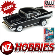 AUTO WORLD THUNDERJET ULTRA G R22 1957 CHEVY BEL AIR (BLACK) HO SCALE SLOT CAR