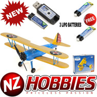 E-Flite UMX PT-17 with AS3X BNF Airplane RC Biplane w/ THREE LIPO BATTERY PACKS