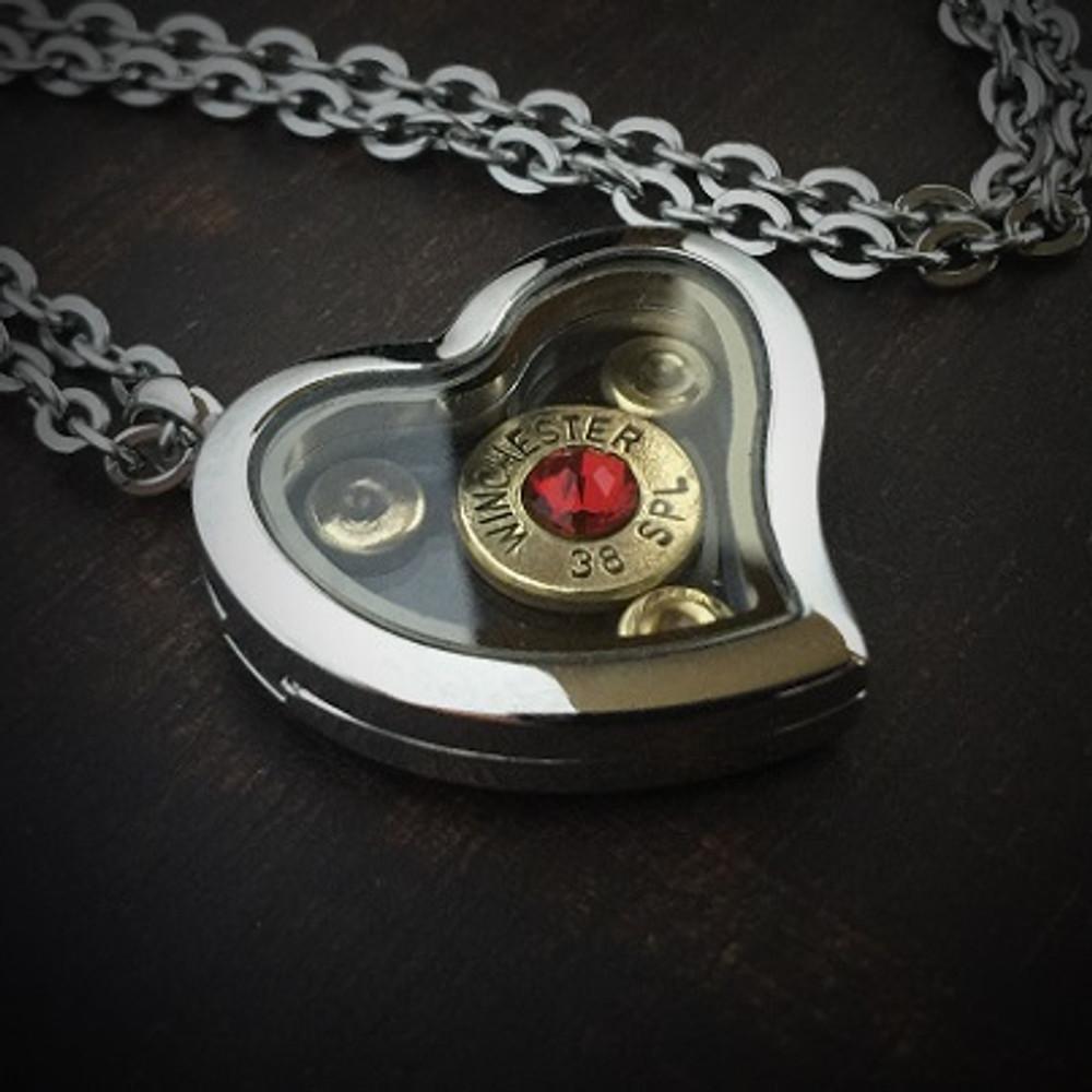JECTZ® Heart Locket Bullet Necklace