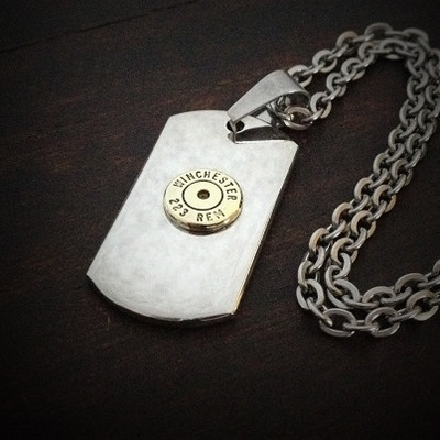 Dog Tag Bullet Necklace