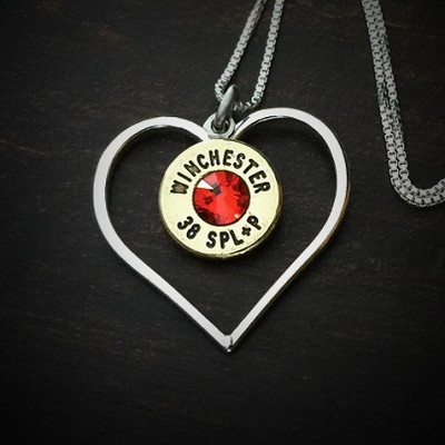 Burning Heart Bullet Necklace