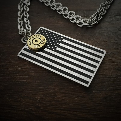 American Flag Bullet Necklace 190