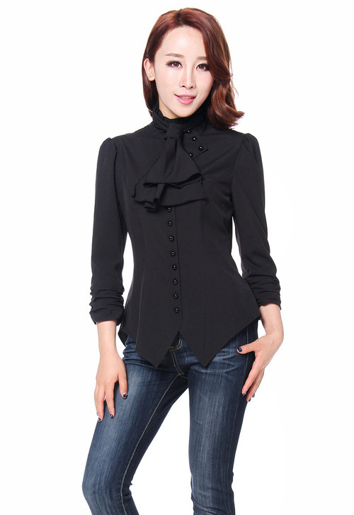 Black Perfomance Punk Blouse Ruched Sleeves