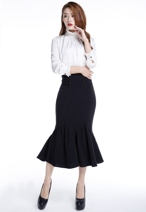 Black Double Button Flare Performance Skirt