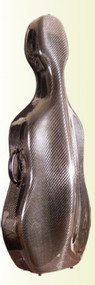 Carbon Fiber Cello Case, Black, Single-Latch, by the Howard Core Company.