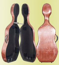 Carbon Fiber Cello Case: Single-latch, red-colored case by the Howard Core Company.