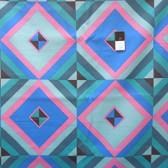 Amy Butler LIAB004 Hapi Sky Pyramid Cobalt LINEN Fabric 1 3/4 Yard