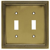 171905 Antique Brass Beaded Double Switch Cover Plate