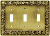 64055 Paisley Triple Switch Tumbled Antique Brass Cover Plate