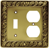 64051 Paisley Single Switch / Duplex Tumbled Antique Brass Cover Plate