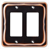 144407 Tenley Bronze & Copper Double GFCI Cover Wall Plate