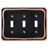 144419 Tenley Bronze & Copper Triple Switch Cover Wall Plate