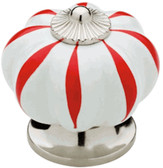 "847920 Polished Chrome & White w/ Red 1 1/2"" Finial Cabinet Drawer Knob"