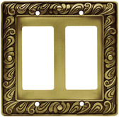 64038 Paisley Tumbled Antique Brass Double GFCI Cover Plate