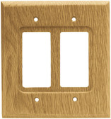 Brainerd 64654 Medium Oak Wood Double GFCI Outlet Cover Wall Plate