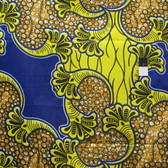 African Tribal Print T-5013 Yellow & Blue Polished Cotton Fabric By The Yard