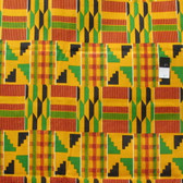 African Tribal Kente Print T-5033 Polished Cotton Fabric By The Yard