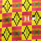 African Tribal Kente Print T-5040 Polished Cotton Fabric By The Yard