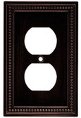 W10103-VBR Beaded Venetian Bronze Single Duplex Outlet Wall Cover Plate