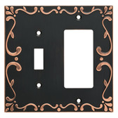 W35075-VBC Classic Lace Single Switch / GFCI Outlet Cover Plate Bronze & Copper