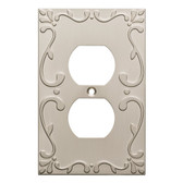 W10372-SN Classic Lace Single Duplex Outlet Cover Plate Satin Nickel