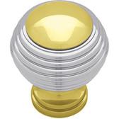 "Liberty P50305C-PLC 1 3/8"" Solid Brass & Chrome Round Cabinet & Drawer Knob"