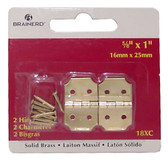 "Brainerd 18XC 5/8"" x 1"" Hinges Solid Brass 2 Pack"