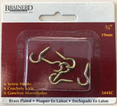 "Brainerd 344XC 3/4"" Screw Hooks Brass Plated 6 Pack"