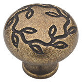 "Liberty P23832W-ABT 1 1/4"" Leaf & Vine Cabinet Drawer Knob Tumbled Antique Brass"