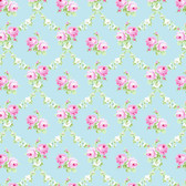Tanya Whelan PWTW148 Charlotte Rose Trellis Blue Cotton Quilting Fabric By Yd