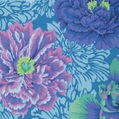 Philip Jacobs PWPJ062 Brocade Peony Aqua Cotton Quilting Fabric By Yard