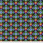 Jane Sassaman Folk Tales PWJS107 Flowered Coverlet Blue Cotton Fabric By Yard