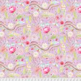 Laura Heine The Dress PWLH002 Garden Purple Cotton Fabric By Yd