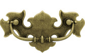 "P67600-AE Antique English Brass 3"" Decorative Bail Cabinet Drawer Knob Pull"
