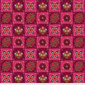 Odile Bailloeul PWOB002 Broderie Boheme Chessboard Garnet Fabric By Yd