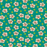 Denyse Schmidt PWDS136 Washington Depot Flower Girl Teal Cotton Fabric By Yd