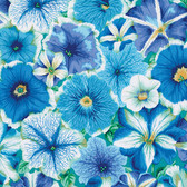 Philip Jacobs PWPJ050 Petunias Delft Cotton Quilting Fabric By Yard