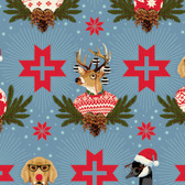 Tula Pink PWTP104 Holiday Homies Buck, Buck, Goose Blue Cotton Fabric By Yard