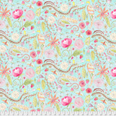 Laura Heine The Dress PWLH002 Garden Aqua Cotton Fabric By Yd