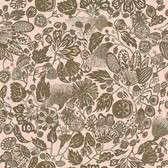 Shannon Newlin Floral Waterfall PWSN003 Woodcut Pink Cotton Fabric By Yd