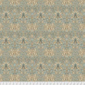 Morris & Co. Merton PWWM010 Snakehead Aqua Cotton Fabric By Yd
