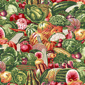 Snow Leopard English Garden PWSL052 Vegetable Garden Harvest Cotton Fabric By Yd