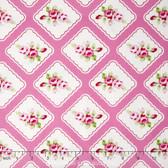 Tanya Whelan Rambling Rose PWTW130 Framed Rosebuds Pink Cotton Fabric By Yard