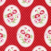 Tanya Whelan Rambling Rose PWTW135 Granny's Wallpaper Red Cotton Fabric By Yd